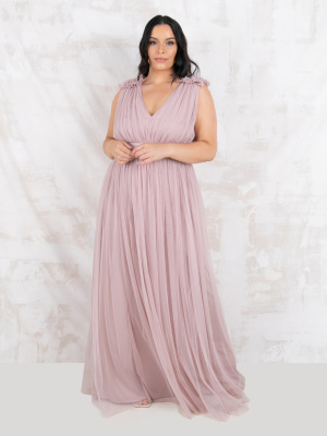 Maya Frosted Pink Maxi Dress With Ruffle Shoulder Detail - PLSU SIZE Wholesale Pack