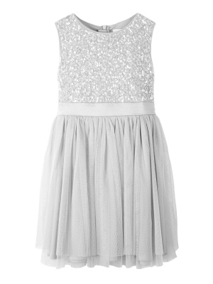 Mini Maya Soft Grey Delicate Sequin Midi Dress With Bow - Wholesale Pack