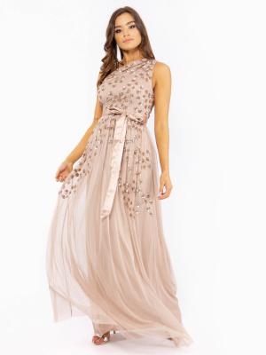 Maya One Shoulder Embellished Maxi Dress With Sash Tie Belt  - Wholesale Pack