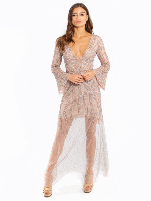 Maya Long Sleeve Plunge V Neckline Embellished Maxi Dress   - Wholesale Pack