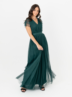 Anaya With Love Pine Green V Neckline Recycled Tulle Maxi Dress With Sash Belt - STRAIGHT SIZE Wholesale Pack