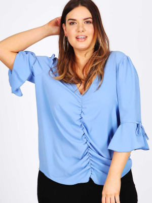 Lovedrobe GB blue ruched front tie sleeve blouse - wholesale Pack