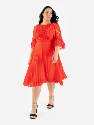 Lovedrobe Luxe Orange Pleated Midi Dress with Lace Detail - Wholesale Pack