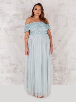 Maya Ice Blue Bardot Embellished Maxi Dress - PLUS SIZE Wholesale Pack