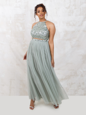 Maya Green Lily Embellished Co-Ord Maxi Skirt - Wholesale Pack
