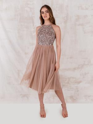 Maya Taupe Blush Embellished Halter Neck Midi Dress - STRAIGHT SIZE Wholesale Pack