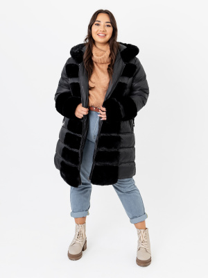 Lovedrobe Black Longline Puffer Hooded Coat with Faux Fur Detail - PLUS SIZE Wholesale Pack
