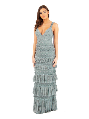 Maya Grey Embellished Maxi Dress with Ruffle Detail - Wholesale Pack