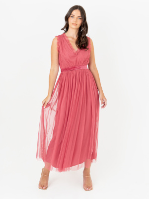 Anaya With Love Recycled  Sleeveless Cranberry Rose Midaxi Dress with Velvet Sash Belt - STRAIGHT SIZE Wholesale Pack