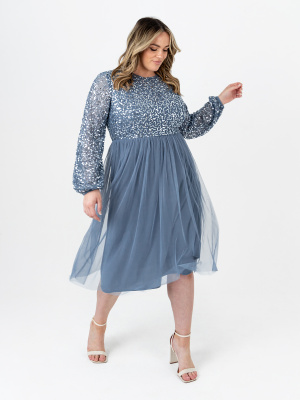 Maya Curve Storm Blue Embellished Midi Dress with Long Sleeves and Keyhole Detail - Wholesale Pack