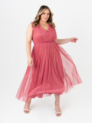 Anaya With Love Recycled  Sleeveless Cranberry Rose Midaxi Dress with Velvet Sash Belt - PLUS SIZE Wholesale Pack