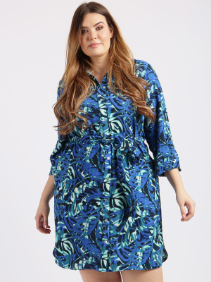 Lovedrobe GB Blue Leaf Print Shirt Dress - Wholesale Pack