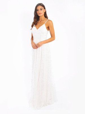 Maya Ivory Bridal V Neck Embellished Maxi Dress - Wholesale Pack
