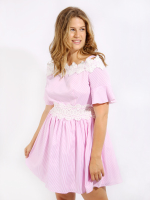 Koko Pink Stripe Lace Trim Cold Shoulder Skater Dress - Wholesale Pack