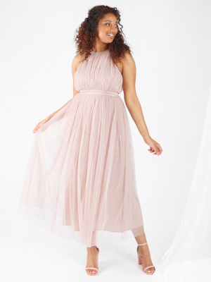 Anaya With Love Frosted Pink Halter Neck Recycled Tulle Midaxi Dress - Wholesale Pack