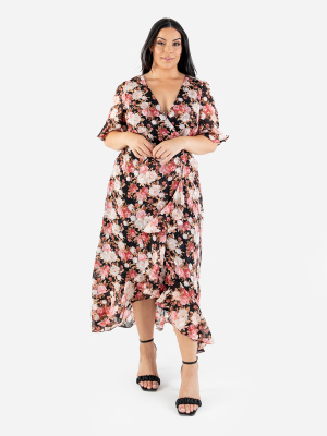 Lovedrobe Luxe Floral Faux Wrap Front Dress with Ruffle Detail - Wholesale Pack