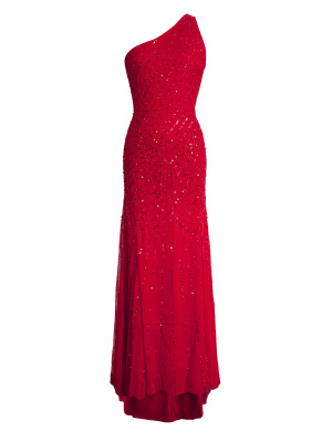 Maya Red Sequin One Shoulder Maxi Dress - Wholesale Pack