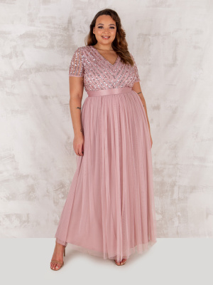 Maya Frosted Pink Stripe Embellished Maxi Dress With Sash Belt - PLUS SIZE Wholesale Pack