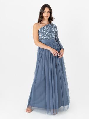 Maya Storm Blue One Shoulder Embellished Maxi Dress with Long Sleeve and Sash Belt