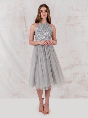 Maya Soft Grey Embellished Halter Neck Midi Dress - STRAIGHT SIZE Wholesale Pack