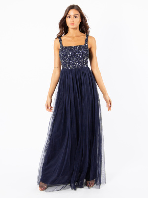 Maya Navy Strappy Delicate Sequin Maxi Dress - Wholesale Pack
