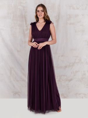 Maya Berry Maxi Dress with Ruffle Shoulder Detail - Wholesale Pack