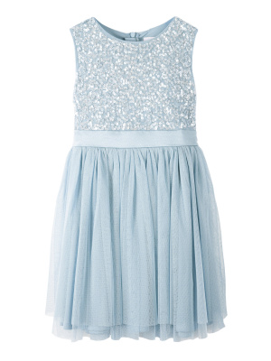 Mini Maya Powder Blue Delicate Sequin Midi Dress with Bow - Wholesale Pack