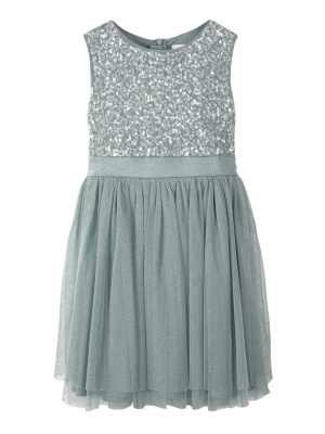 Mini Maya Misty Green Delicate Sequin Midi Dress With Bow - Wholesale Pack