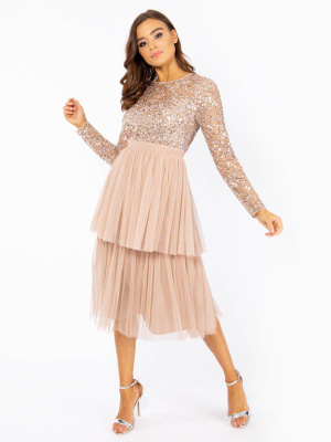 Maya Taupe Blush Embellished Tiered Midi Dress - Wholesale Pack
