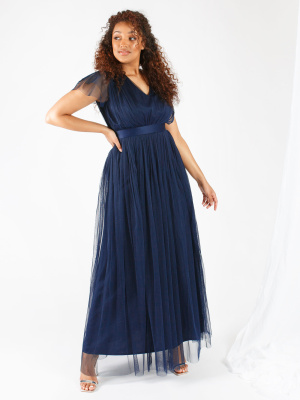 Anaya With Love Navy V Neckline Recycled Maxi Dress with Sash Belt - Wholesale Pack
