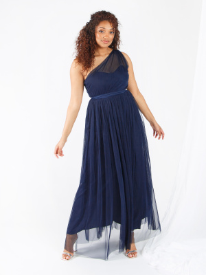 Anaya With Love Navy One Shoulder Recycled Tulle Maxi Dress - Wholesale Pack