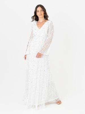 Maya White Embellished Long Bell Sleeve Maxi Dress with Keyhole Detail - Wholesale Pack
