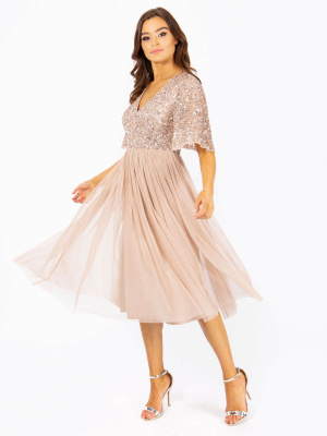 Maya Taupe Blush Short Flutter Sleeve Embellished Midi Dress - Wholesale Pack
