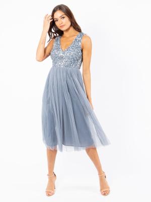 Maya Dusty Blue Sleeveless Embellished Midi Dress - Wholesale Pack
