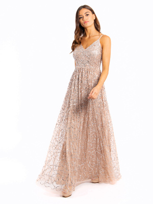Maya Taupe Blush Embellished V Neck Maxi Dress  - Wholesale Pack