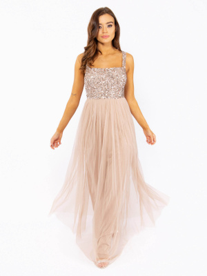 Maya Taupe Blush Strappy Delicate Sequin Maxi Dress - Wholesale Pack
