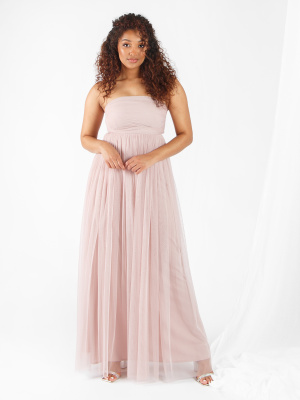 Anaya With Love Frosted Pink Bandeau Recycled Tulle Maxi Dress - Wholesale Pack