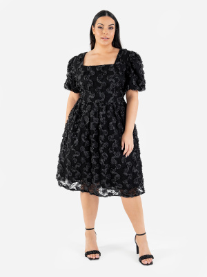 Lovedrobe Luxe Black Midi Dress with Puff Sleeves and Textured Floral Detail - Wholesale Pack