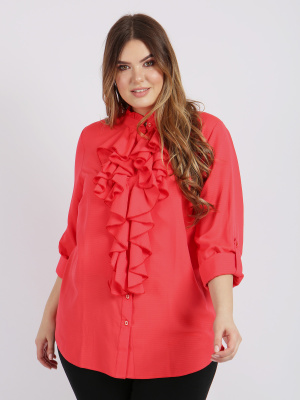 Lovedrobe GB Coral Ruffle Front Shirt - Wholesale Pack