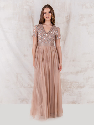 Maya Taupe Blush Stripe Embellished Maxi Dress With Sash Belt - STRAIGHT SIZE Wholesale Pack