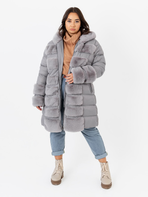 Lovedrobe Silver Longline Puffer Hooded Coat with Faux Fur Detail - PLUS SIZE Wholesale Pack