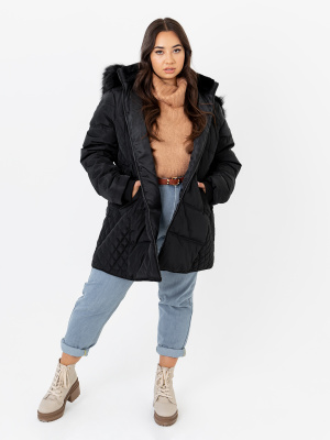 Lovedrobe Black Puffer Coat with Quilted Detail and Removable Faux Fur Trim - PLUS SIZE Wholesale Pack
