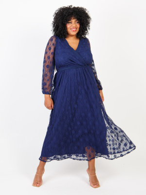 Loverdrobe Luxe Twilight Blue Floral Lace Faux Wrap Maxi Dress - Wholesale Pack