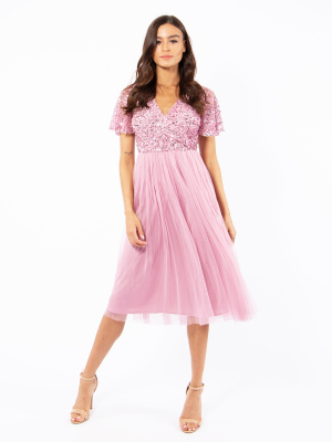 Maya Pink Faux Wrap Front Embellished Midi Dress  - Wholesale Pack