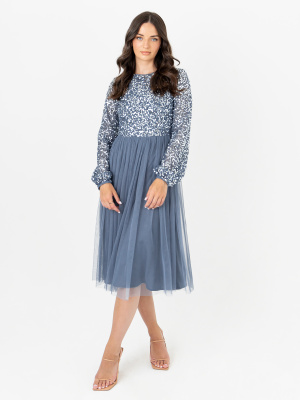 Maya Storm Blue Embellished Maxi Dress with Long Sleeves and Keyhole Detail - Wholesale Pack