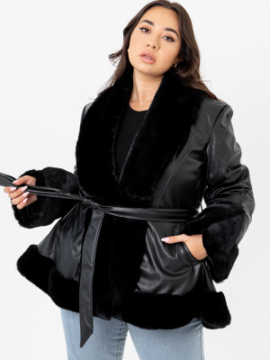 Lovedrobe Black Faux Leather Swing Jacket with Belt and Faux Fur Trim - PLUS SIZE Wholesale Pack