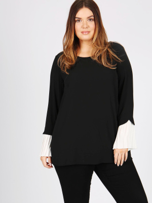LOVEDROBE GB BLACK PLEATED SLEEVE BLOUSE - Wholesale Pack