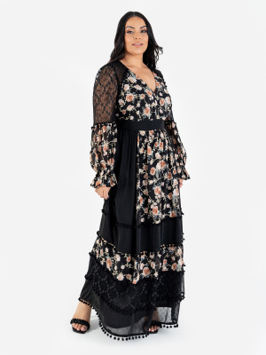 Lovedrobe Luxe Black Floral Long Sleeve Maxi Dress with Lace Detail - Wholesale Pack