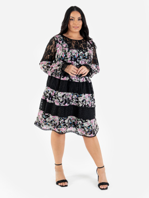 Lovedrobe Luxe Floral Long Sleeve Midi Dress with Lace Detail - Wholesale Pack