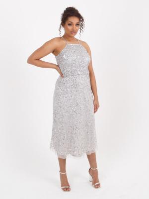 Maya Soft Grey Halter Neck Embellished Midi Dress With Drape Over Waist - Wholesale Pack